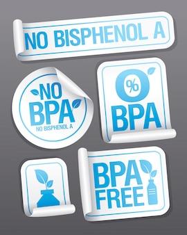 Geen bisfenol a, bpa-vrij, geen bpa-stickerset