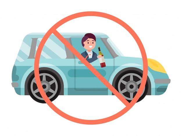 Geen drank ondertekenen alcohol rijdende auto, mannelijke karakter houden fles alcohol wijn in voertuig geïsoleerd op wit, illustratie.