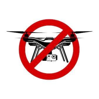 Geen drone quadrocopter fly zone vector teken