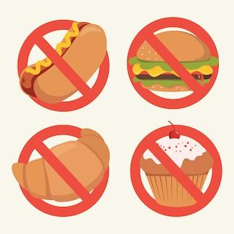 Geen fastfood teken cartoon, geen hotdog, hamburger, cupcake, croissant teken