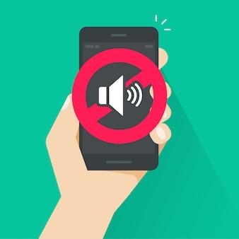 Geen geluids- of gsm-stilte-modus-teken voor illustratie mobiele telefoon