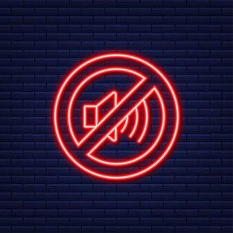 Geen geluidstelefoon. neon icoon. telefoongesprek. mobiele telefoon icoon. vector illustratie.