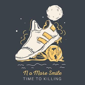 Geen glimlach meer tijd om te doden. schoenen en emoticon illustratie.