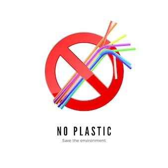 Geen illustratie van plastic rietjes