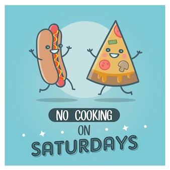 Geen koken op zaterdag hotdog en pizza fast food