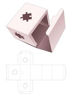 Geen lijm-flipdoos met gestencilde, gestanste sjabloon in de vorm van een puzzel