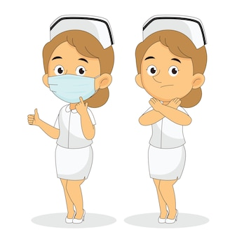 Geen masker geen toegang, verpleegster die gezichtsmaskers gebruikt