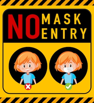 Geen masker geen toegang waarschuwingsbord met stripfiguur