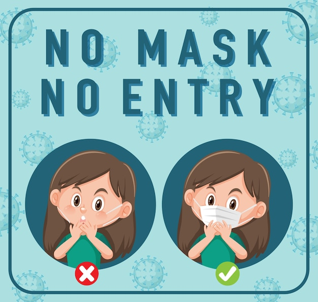 Geen masker geen vermelding bord met stripfiguur