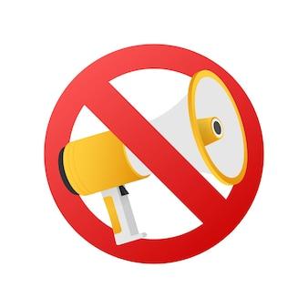 Geen megafoon spreker teken of geen uitgaande spreker. vector stock illustratie