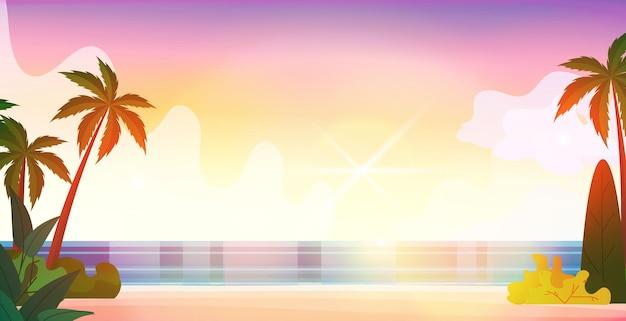 Geen mensen zee tropisch strand zomervakantie concept mooi zeegezicht achtergrond horizontale vectorillustratie