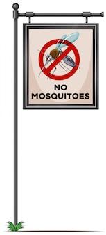 Geen muggen ondertekenen op de paal