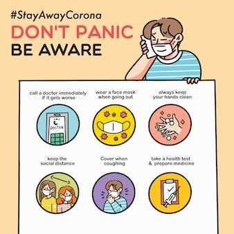 Geen paniek wees je bewust van corona virus eenvoudige doodle illustratie covid-19 veiligheidscampagne