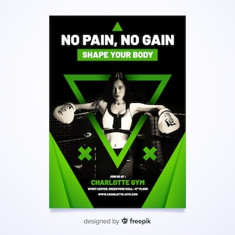 Geen pijn geen winst boksen poster