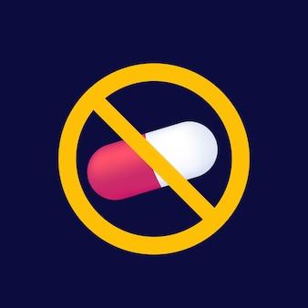 Geen pillen of drugs vector kunst