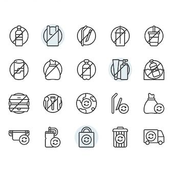 Geen plastic concept gerelateerde dunne lijn icon set
