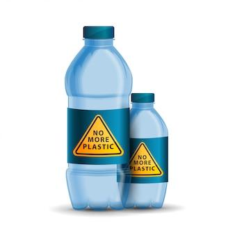 Geen plastic, geel driehoekig waarschuwingsbord meer op het deksel van de fles