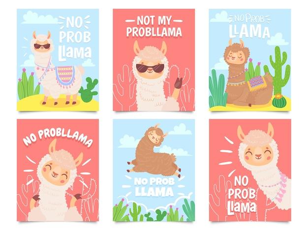 Geen problama-posters. schattige lama's hebben geen problemen met wenskaarten, prachtige dieren in het wild