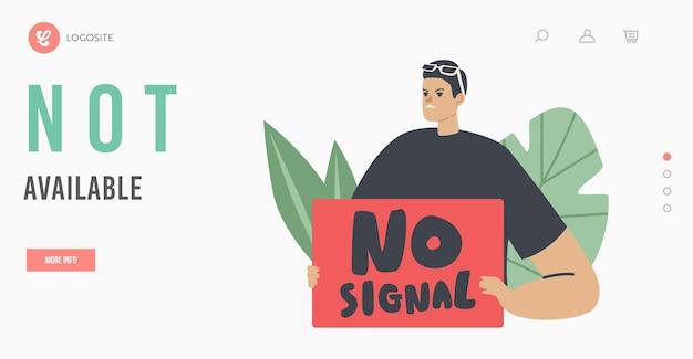 Geen signaal, verloren draadloze wifi-verbinding bestemmingspaginasjabloon. man met rode banner toegang niet beschikbaar. mannelijk personage in openbare hotspot, online technologie. cartoon mensen vectorillustratie
