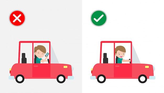 Geen sms'en, niet praten, goede en verkeerde manieren rijden om auto-ongelukken te voorkomen. geen autorijden en telefoon met teken geïsoleerd