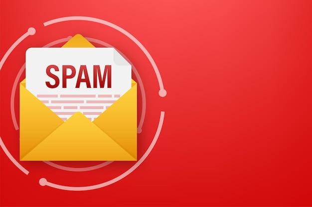 Geen spam spam e-mail waarschuwing concept van hacking en beveiliging van viruspiraterij