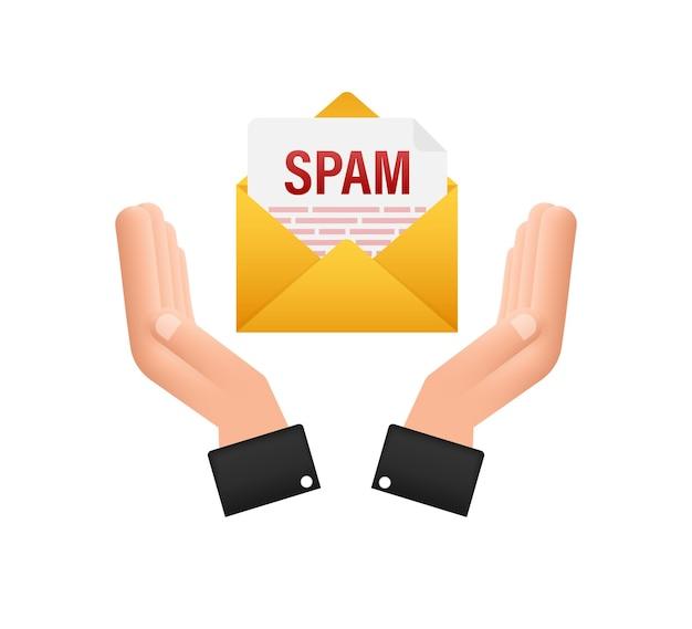 Geen spam-teken in handen spam e-mail waarschuwing concept van hacking en beveiliging van viruspiraterij