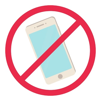 Geen telefoonteken rode smartphone verboden regelsymbool geen toegestane telefoon