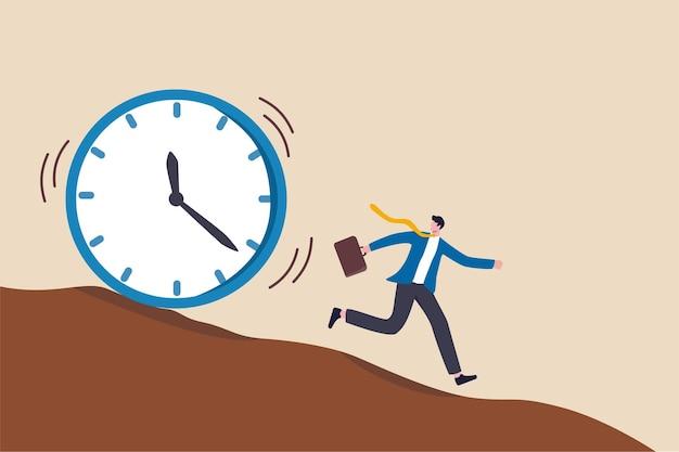 Geen tijd meer, werkdeadline, tijd aftellen of tijdmanagementconcept