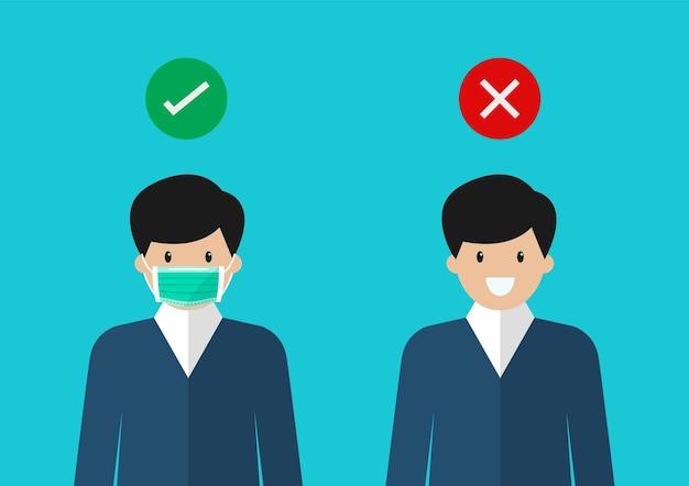 Geen toegang zonder gezichtsmasker. man met een beschermend medisch masker om het virus covid-19 te voorkomen.
