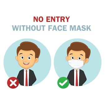 Geen toegang zonder illustratie van het gezichtsmasker