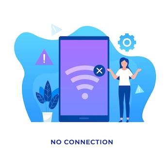 Geen verbindingsillustratieconcept voor websites