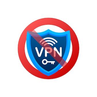 Geen vpn. vectorreeks. veiligheid internet technologie. digitale technologie gegevensbescherming.