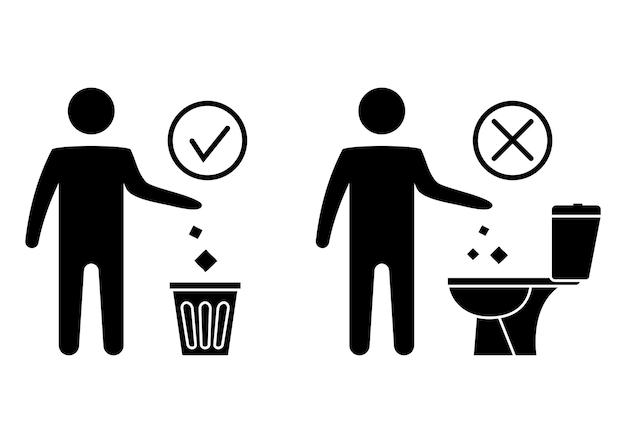 Geen zwerfvuil in het toilet toilet geen afval spoel geen papieren handdoeken sanitaire producten door
