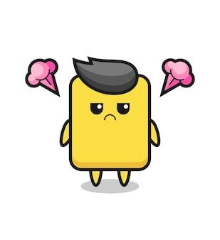 Geërgerde uitdrukking van het schattige gele kaart stripfiguur, schattig stijlontwerp voor t-shirt, sticker, logo-element