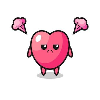 Geërgerde uitdrukking van het schattige stripfiguur met hartsymbool, schattig stijlontwerp voor t-shirt, sticker, logo-element