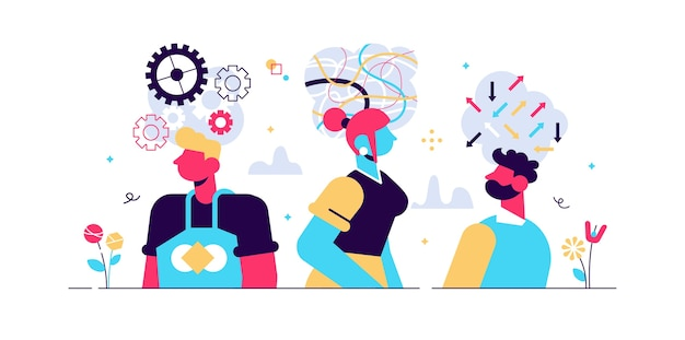 Geest gedrag concept, platte kleine personen vector illustratie. abstract innerlijk denkproces en symbolische emotionele activiteit. persoonlijkheid en mentale mentaliteitstypen. persoonlijke houding en levensstijl.