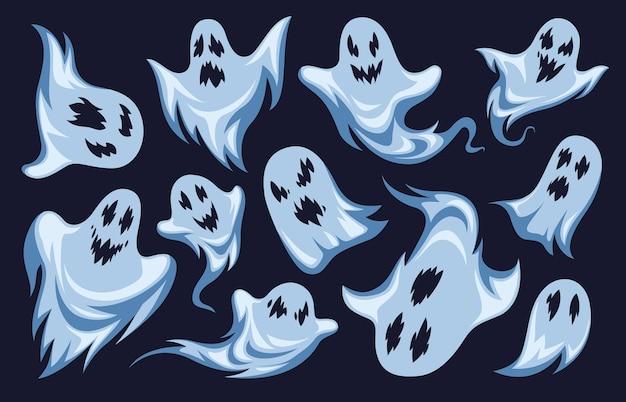 Geest. halloween nacht vakantie karakters. griezelige grappige angstaanjagende griezelige boo-fantomen, mysterie monsters wit silhouet van schepsel set