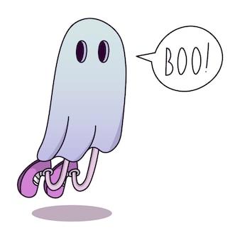 Geest in een wit laken, kostuum, halloween. tekstballon met het woord