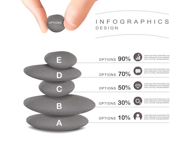 Geestelijk concept infographic sjabloonontwerp met stenen toren