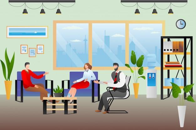 Geestelijk paar probleem, vrouw man bij psycholoog kantoor illustratie. familie praten op therapieoverleg. echtgenote man zoekt hulp bij psychotherapie, advies van therapeut arts.