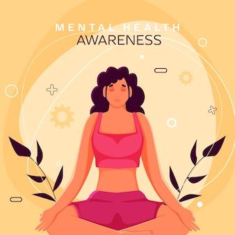 Geestelijke gezondheid bewustzijn posterontwerp met jonge vrouw mediteren in lotus houding