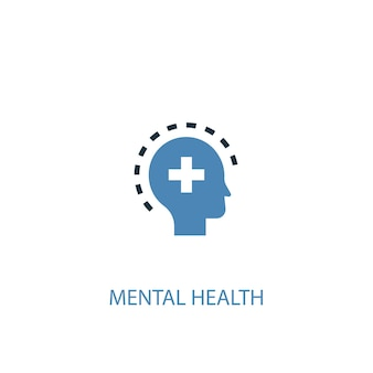 Geestelijke gezondheid concept 2 gekleurd icoon. eenvoudige blauwe elementenillustratie. geestelijke gezondheid concept symbool ontwerp. kan worden gebruikt voor web- en mobiele ui/ux