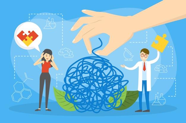 Geestelijke gezondheid concept. arts behandelt de mentaliteit van de persoon.