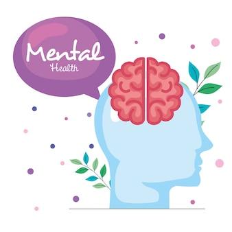 Geestelijke gezondheid concept, menselijk profiel met hersenen
