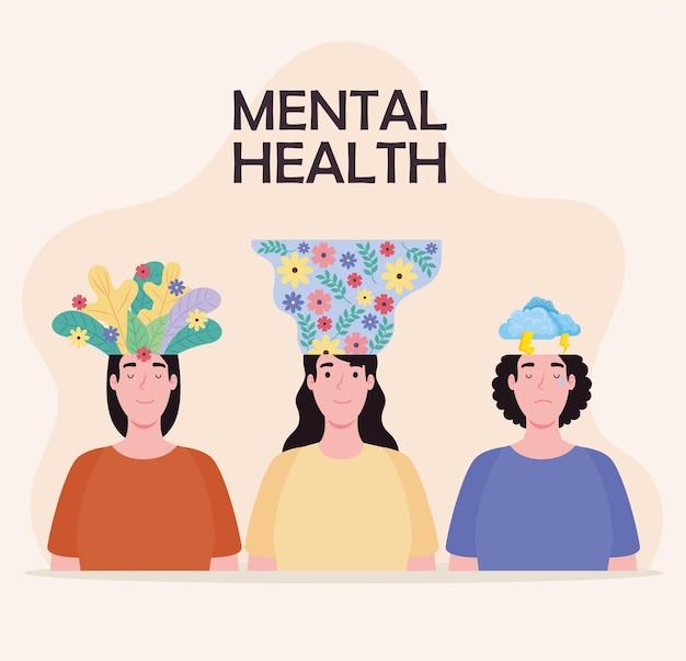 Geestelijke gezondheid drie vrouwen