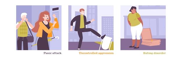 Geestelijke gezondheid geïsoleerde illustraties van mensen met paniekaanval, ongecontroleerde agressie en eetstoornis in vlakke stijl
