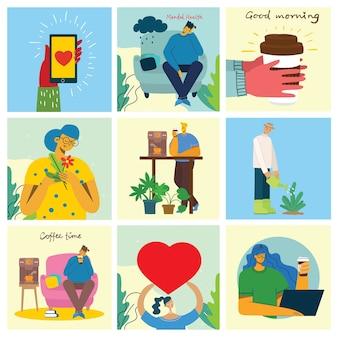 Geestelijke gezondheid illustratie concept. jonge man en vrouw met onweer in hoofd. psychologie visuele interpretatie van geestelijke gezondheid in het platte ontwerp