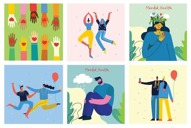 Geestelijke gezondheid illustratie concept. jonge man en vrouw met onweer in hoofd. psychologie visuele interpretatie van geestelijke gezondheid in plat ontwerp