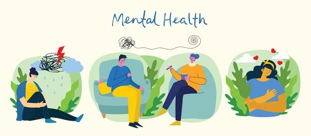 Geestelijke gezondheid illustratie concept. psychologie visuele interpretatie van geestelijke gezondheid in het platte ontwerp