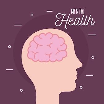 Geestelijke gezondheid met hersenen in het hoofd van de geest en een menselijk thema